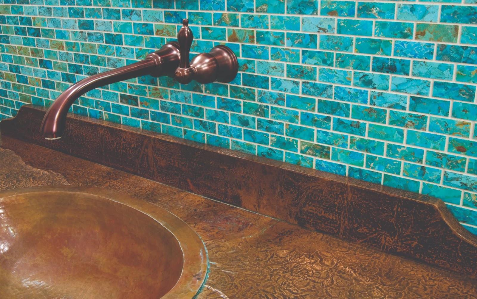 Turquoise subway tile bathroom backsplash in a natural look