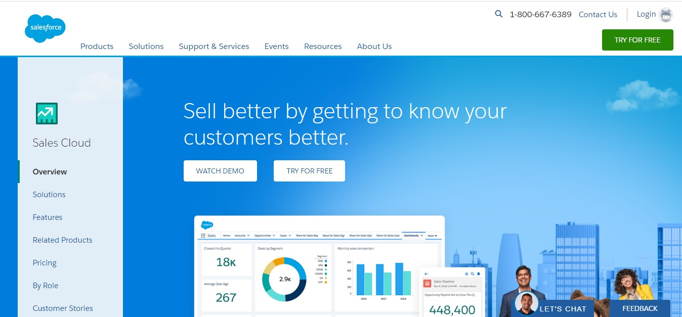 SalesForce's landing page.