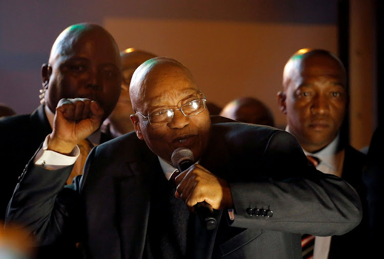 President Jacob Zuma addresses supporters in Cape Town on Tuesday night. Picture: REUTERS