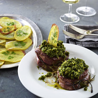 Filet mignon with Salsa Verde and Roasted Potatoes.