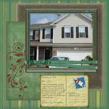 Photo: Created 3/28/08.  Uses a Quick Page from Dragons Lair Designs  (Green Green Grass of Home) purchased from Brazilian Blend Digital Designs. Postcard is from Debbie Pearson's Frescata collection.  Dr. Suess stamp found online. Journalling is a pretend note from my mother telling Kaleya that she bought a house.