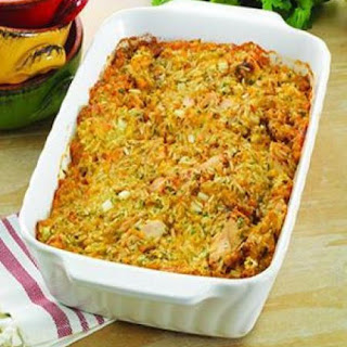 Creamy Corn, Chicken and Rice Bake.