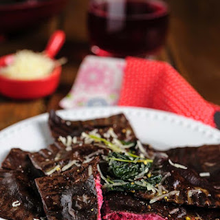 Chocolate Ravioli with Ricotta-Beet Filling.
