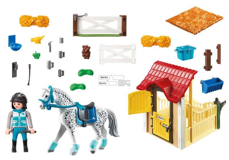 Contenido real de Playmobil® 6935 Caballo Appaloosa con Establo