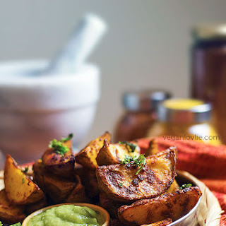 Baked Tandoori Potato Wedges with Cucumber Avocado Lime Dip.