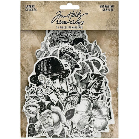 Tim Holtz Idea-Ology Layers Die-Cuts 76/Pkg - Engraving