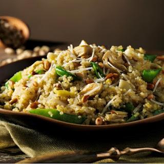Quinoa Pilaf with Artichokes, Leeks and Sugar Snap Peas