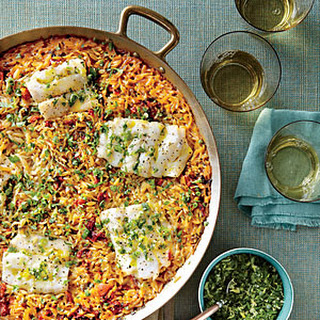 Skillet Orzo with Fish and Herbs