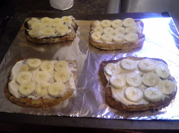 place sliced bananas on bread next.