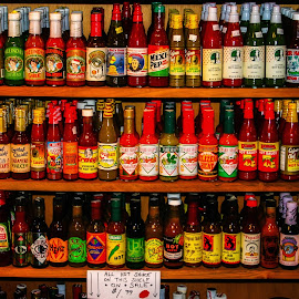 Hot Sauce For Every Taste by Dave Walters - Food & Drink Ingredients ( food display, canon rebel, new orleans, colors, artistic, french quarter )