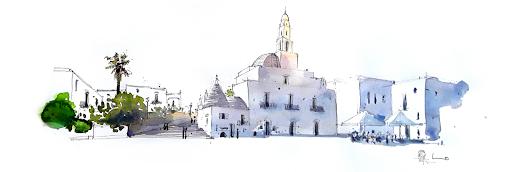 aquarelle Jeanne PAPA_ Alberobello Pouilles
