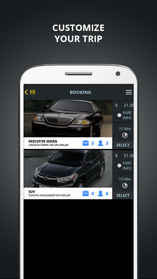XYZ Ride - Luxury Mobile App- screenshot