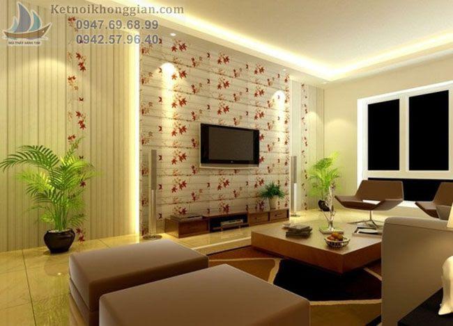thiết kế phòng khách với chậu cây cảnh