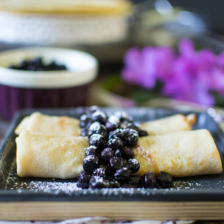 Whole Wheat Crepes with Blueberry Compote.