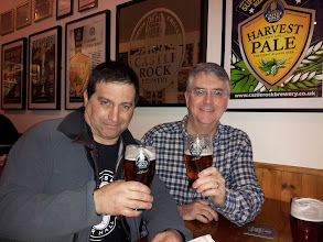 Photo: Dan and Hamp enjoy a pint of Harvest Pale Ale in the Castle Rock tap.