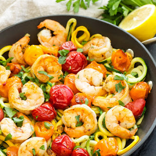 Roasted Tomatoes and Shrimp with Zucchini Noodles.
