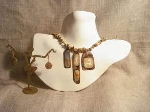 Photo: <BEREHYNYA> {Great Goddess Protectress} unique one-of-a-kind statement jewellery by Luba Bilash ART & ADORNMENT  ANCESTORS - ПРЕДКИ - copper enamel pendants, jasper, 14K gold vermeil NFS