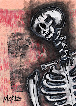 "Photo: Calaveras #48. 2.5/3.5"" or 6/9 cm.  Mixed medium on archival paper.  Signed and sealed.  ©Marisol McKee"