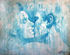 """Photo: """"O Beijo Gitano - O Sonho de Aladiah"""" .Acrílica/cartão, 75 x 95 cm, 1998, Mossoró, Rio Grande do Norte, Brasil. Da série """"Nômades Amantes do Tempo. Acervo do Artista."""