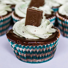Thin Mint Cupcakes! by Nicole Mitchell - Food & Drink Cooking & Baking ( chocolate, cupcake, ganache, frosting, mint )