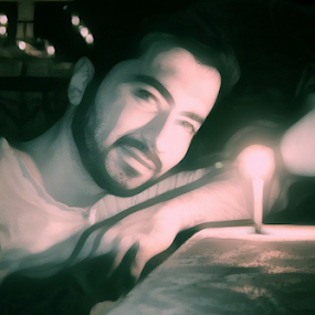 Man and the candle by Arjun Madhav - Drawing All Drawing ( candle, art, oil painting, man )