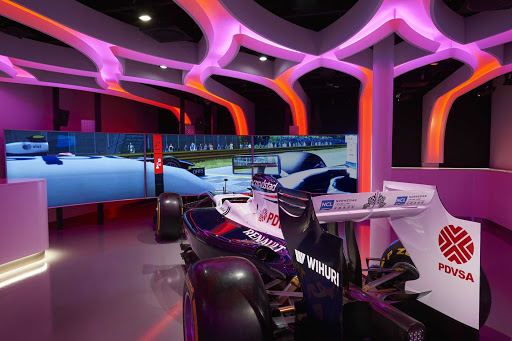 Visit Galaxy Pavilion on Norwegian Joy, and experience the virtual reality thrill of a Formula 1 race car.