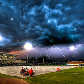 Rained Out by Michael  Kitchen - Landscapes Weather ( hdr, colorful, sports, sport, storm, field, lights, lightning, red, sky, d700, blue, baseball, color, night, nikon, light, rain )