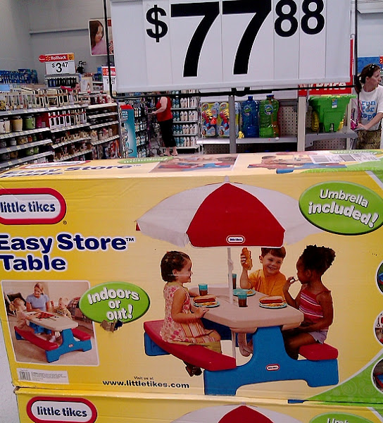 Photo: I was debating purchasing some new play equipment for our yard. We have a number of sprinklers but we don't have much to play on that doesn't involve water. We have our sandbox and two playgrounds in our neighborhood so I haven't purchased many other outdoor toys yet. This picnic table would be great inside and outside but I just got my son a set of chairs and little table for in the house, so I continued looking.