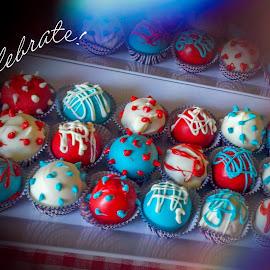 Celebrate by Debbie Jones - Typography Quotes & Sentences ( cake, fourth of july, celebration, celebrate,  )