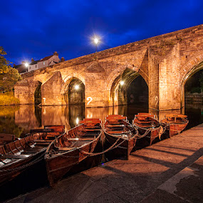 Brown's Boats, Durham by Ian Taylor - City,  Street & Park  Night ( durham, boats, brown's, night, bridge, wear, evening, elvet, river, city )
