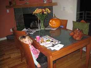 Photo: dinner time with Leah's pumpkin