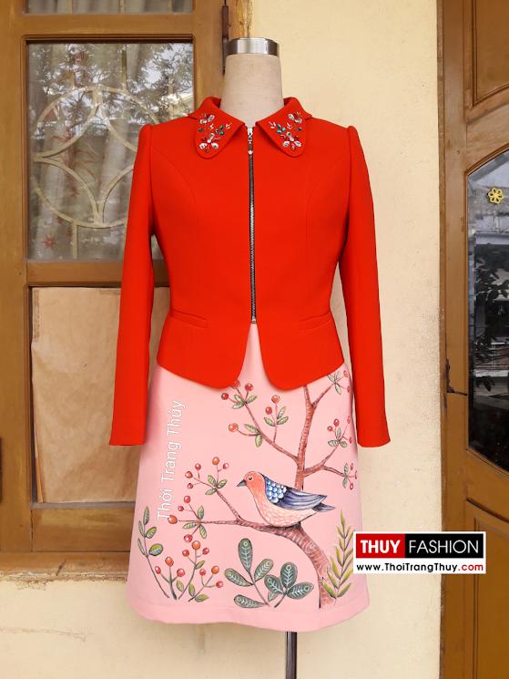 Áo ký giả nữ cổ cánh bướm đính hạt thủ công V396 Thời Trang Thủy