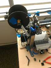 Photo: Some time ago we added a second spool holder (https://www.thingiverse.com/thing:159350 ). It works better for most spool designs, but is a little ungangly.