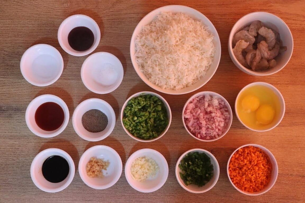 ingredient to make prawn fried rice recipe