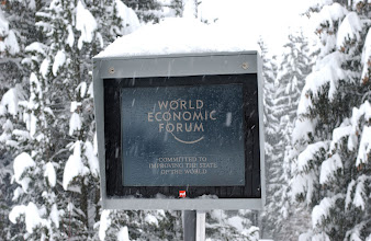 Photo: DAVOS/SWITZERLAND, 20JAN04 - Snow-covered information screen at the 'Annual Meeting 2004' of the World Economic Forum in Davos, Switzerland, January 20, 2004.