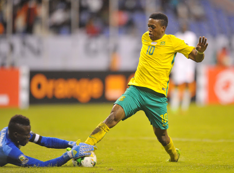 Luther Singh of South Africa challenged by Lamine Sarr of Senegal during the 2017 Total Zambia U-20 African Cup of Nations match between South Africa v Senegal at Levy Mwanawasa Stadium, Ndola Zambia on 02 March 2017.