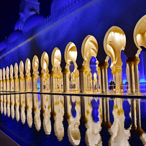 grand mosque by Ashutosh Singhvi - Buildings & Architecture Places of Worship ( mirrored reflections, grand mosque, night photography, mosque, reflections )