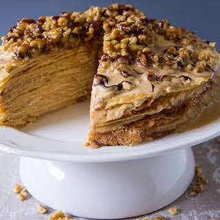 Dulce De Leche Crepe Cake with Walnuts.