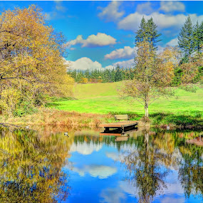Tranquil Lake by John Broughton - Landscapes Waterscapes ( tranquil, fall colors, soft clouds, reflections, lake )