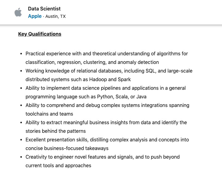 Data Scientist Job in Apple