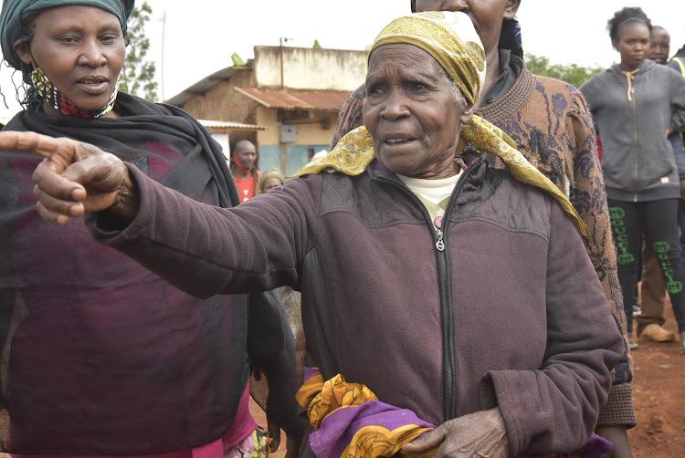78-year-old Jane Nyambura in Kariua village, Gatundu North, on Tuesday.