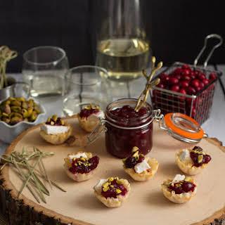 Cranberry, Brie & Toasted Pistachio Phyllo Bites.