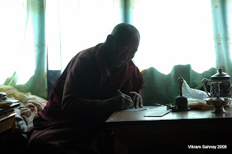 Photo: Llama Geshi writing my blessing card to carry to the summit.