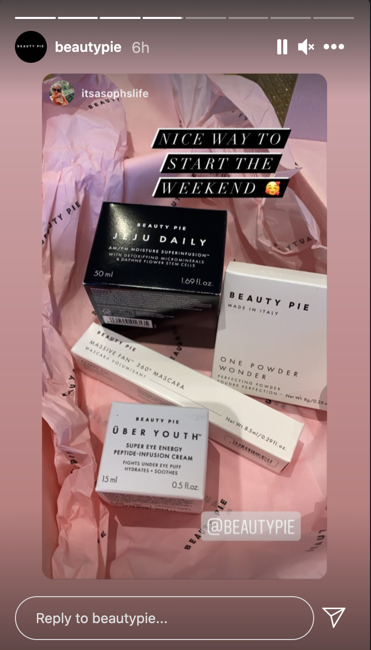 Image of customers purchases from Beauty Pie