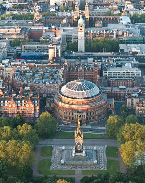 Aerial photographs of London at dawn. Aerial view of the Royal Albert Hall and Albert Memorial. Picture: High Level Photography / Rex Features