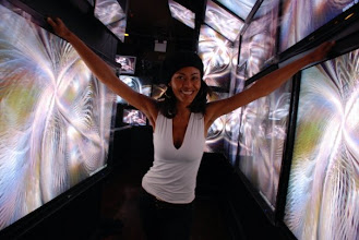 """Photo: Juliette Powell at Webster Hall where 50 flat screens showing our """"High Fidelity Demo"""" Blu Ray."""