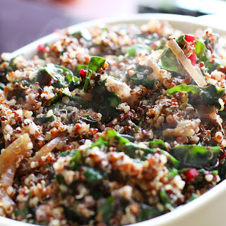 Quinoa with Caramelized Red Onions and Swiss Chard.