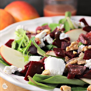 Blood Orange, Beet, and Apple Salad with Goat Cheese and Citrus Honey Vinaigrette.