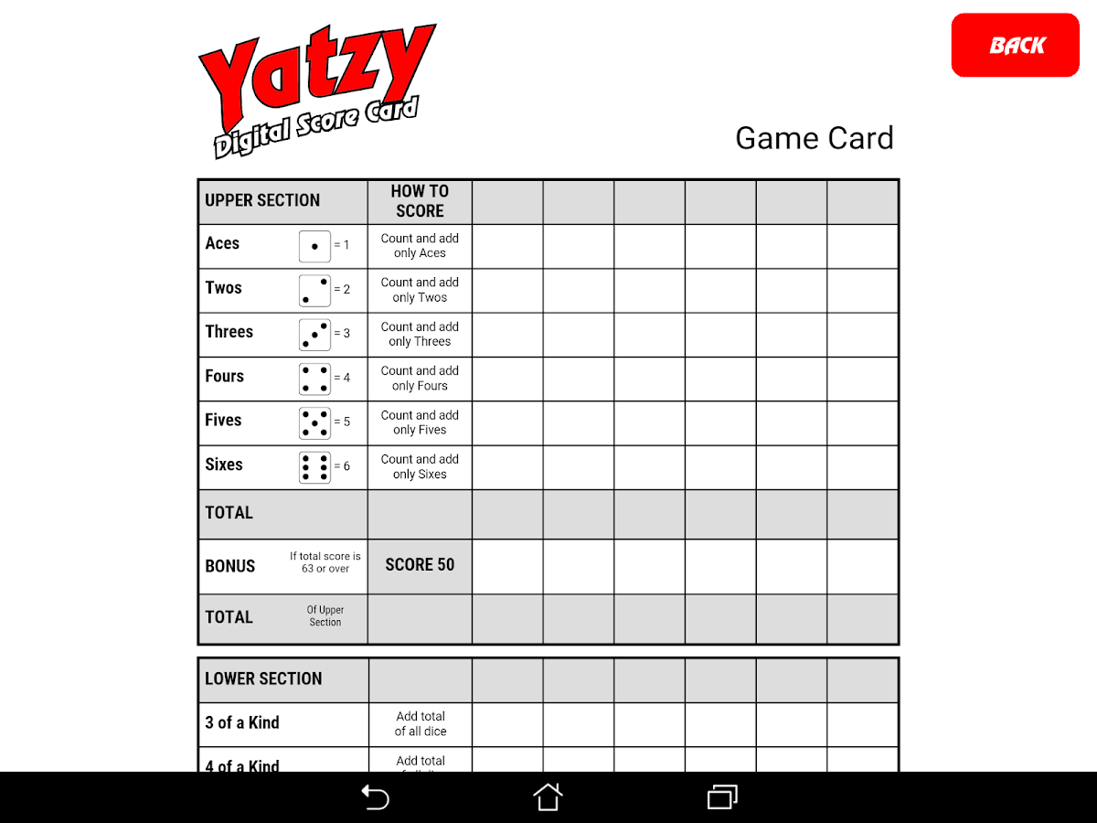 Yatzy Digital Score Card- screenshot