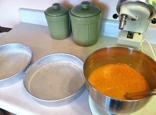 """Grease 2- 9"""" or 10"""" pans (could use one 13""""x9"""" as well).  Cut..."""